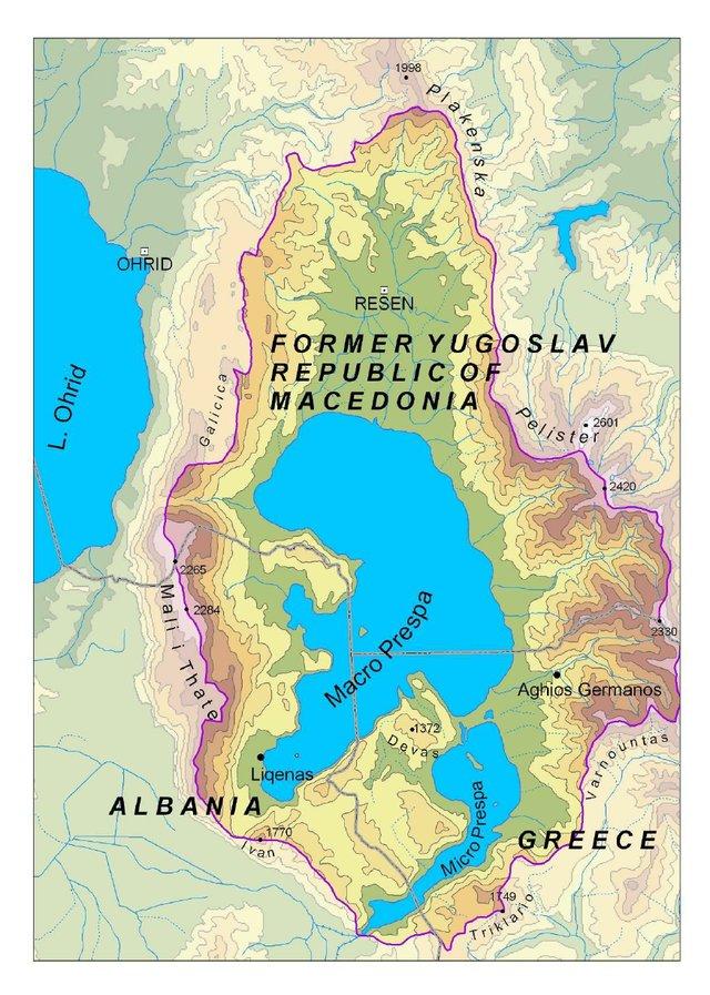 Η έκταση του Πάρκου Πρεσπών (Perennu et al. 2009)