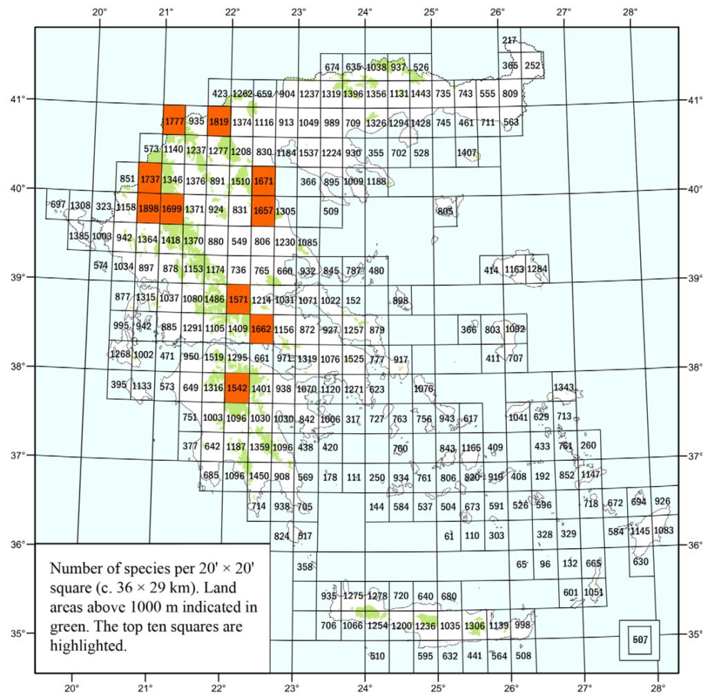 Αριθμός ειδών χλωρίδας ανά κελί 36 x 29 χλμ. Η περιοχή της Πρέσπας βρίσκεται μεταξύ των 10 περισσότερο χλωριδικά ποικίλων περιοχών στην Ελλάδα (τα πορτοκαλί κελιά) (Από Strid & Tan 2017).